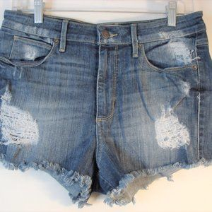 Guess Jeans Denim Distressed Frayed Denim Shorts